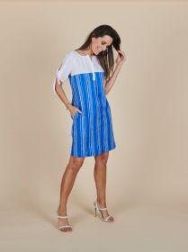 Blauw gestreept kleed met witte bovenkant Blue Bay