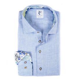 Lichtblauw linnen hemd met bladerenprint op kraag en manchette R2 Amsterdam