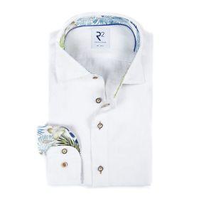 Wit hemd met bladerenprint op manchette en kraag R2 Amsterdam