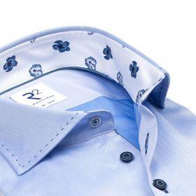 Lichtblauw hemd met bloemenprint in kraag en manchette R2 Amsterdam