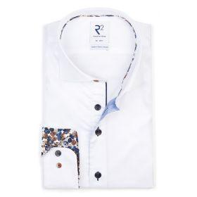 Wit hemd met bruin - blauwe print in kraag en op manchette R2 Amsterdam