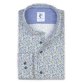Wit hemd met blauwe bloemenprint R2 Amsterdam