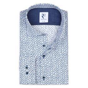 Wit hemd met blauwe print R2 Amsterdam