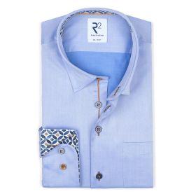 Lichtblauw hemd met rondjesfantasie aan manchette en kraag R2 Amsterdam