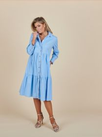 Lichtblauw hemdkleed met banden Due Amanti