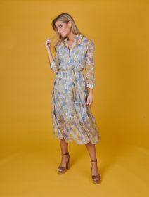 Blauw geel hemdkleed met print en volant Due Amanti
