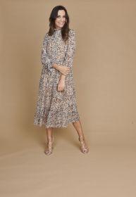 Beige lichtblauw lang kleed met print Riani