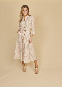 Beige wit lang doorknoopkleed met zigzagmotief Riani