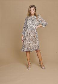 Beige lichtblauw kleed met print Riani