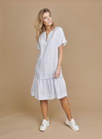 Grijsblauw kleed met volant Riani
