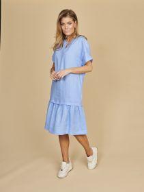 Lichtblauw kleed met volant Riani
