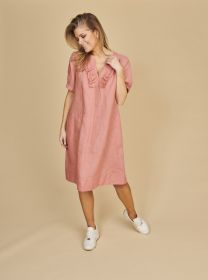 Roze kleed met jabot Riani