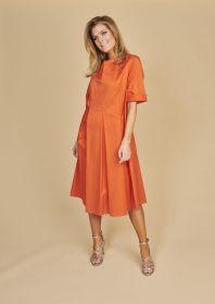 Oranje V-hals kleed met plooien Riani