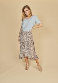 Beige lichtblauwe rok met print Riani