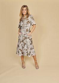 Kaki lang kleed met bladerenprint Riani
