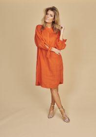 Oranje kleed met strik aan de mouw Riani