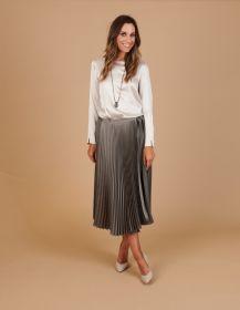 Grijze rok met fijnere en bredere plissé Seventy