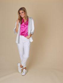 Witte jas met kap en grijze voering Cinzia rocca