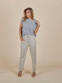 Beige broek met lint in taille en grote zakken Tonet