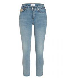 Blauwe jeans met fantasie aan de zak model Piper short Cambio