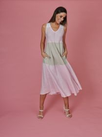 Roze beige wit lang gestreept kleed Rosso 35