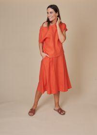 Oranje bloes met korte mouw Rosso 35