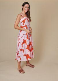 Oranje lang kleed met wit - roze bladerenprint Rosso 35
