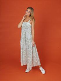 Grijs lang kleed met wit - kaki bladerenprint Rosso 35