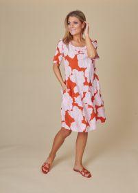 Oranje kleed met wit - roze bloemenprint Rosso 35