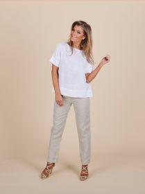 Witte linnen T-shirt Rosso 35