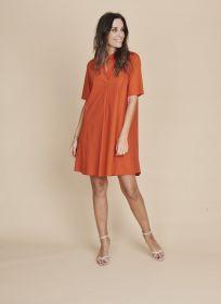 Oranje V-hals kleed, A-lijn Rosso 35