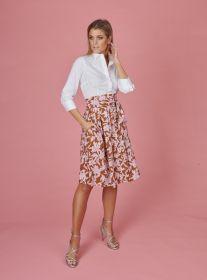 Wit hemdkleed met bruine rok met roze bladerenprint Rosso 35