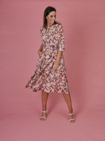 Bruin hemdkleed met roze bladerenprint Rosso 35