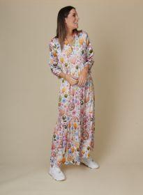 Lang V-hals kleed met print in pasteltinten Mucho Gusto