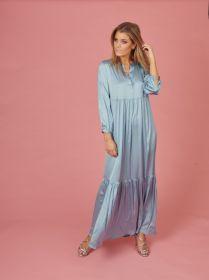 Lichtblauw lang kleed met banden Mucho Gusto