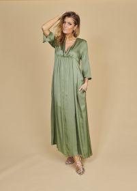 Groen lang V-hals kleed Alpha Studio