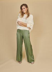 Groene losse broek op elastiek Alpha Studio