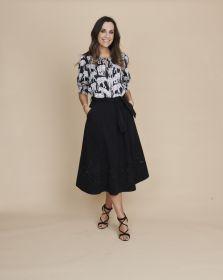 Zwarte bloes met olifantenprint Caroline Biss