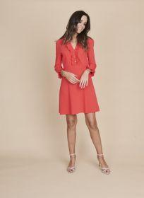Fuchsia kleed met jabot Linea Raffaelli