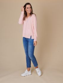 Roze V-hals pull met ribbel opzij Repeat