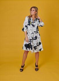 Wit kleed met marine print en banden Terre Bleue