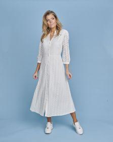 Wit lang hemdkleed met visgraat Terre Bleue