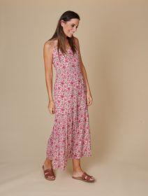 Roze gebloemd lang kleed Terre Bleue