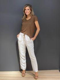 Wit met bruin gestreepte broek Max & Moi