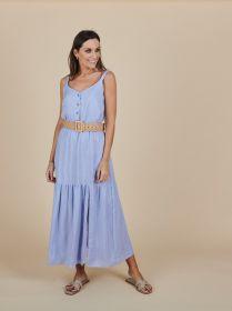 Lichtblauw lang bain soleil kleed met banden en split Atmos