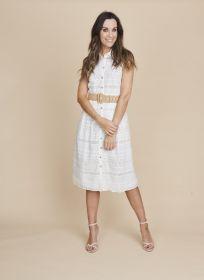 Wit 'kanten' hemdkleed met riem Atmos