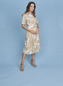 Beige hemdkleed met bladerenprint en riem Atmos