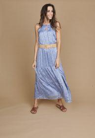Lichtblauw lang kleed met riem en fijne bloemenprint Atmos