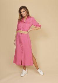 Roze lang hemdkleed met borstzakken Atmos