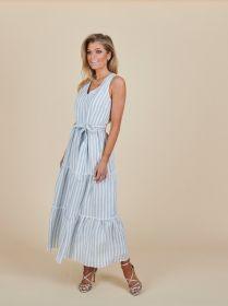 Lichtblauw lang gestreept kleed Senso